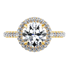 Halo  Engagement Ring Blossom 14K Yellow Gold