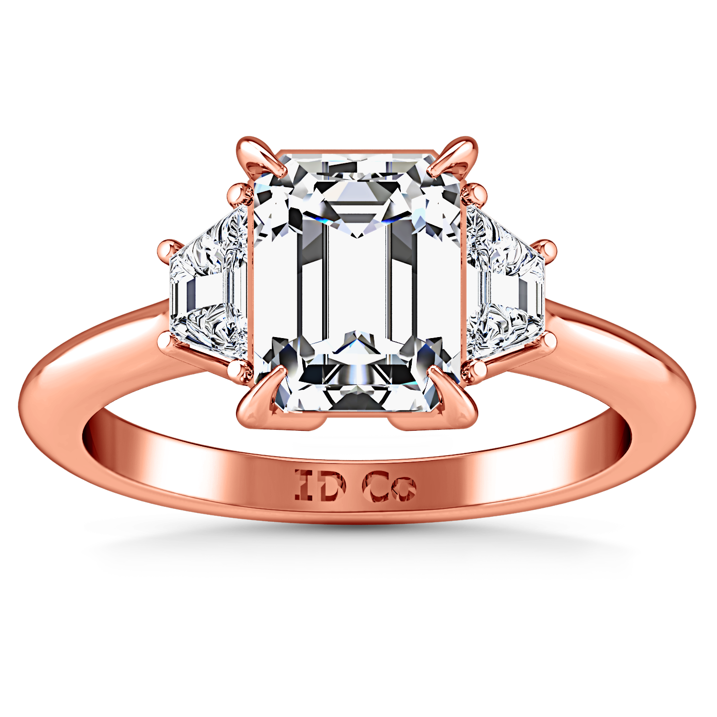 Three Stone Cushion Cut Engagement Ring Celesse 14k Rose Gold
