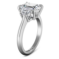 Three Stone Cushion Cut Engagement Ring Celesse 14K White Gold