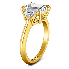 Three Stone Cushion Cut Engagement Ring Celesse 14K Yellow Gold