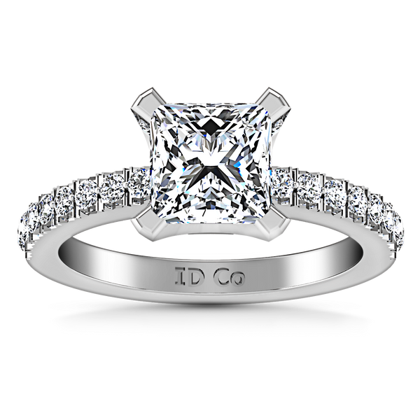 Pave Princess Cut Engagement Ring Prima 14K White Gold