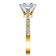 Pave Princess Cut Engagement Ring Prima 14K Yellow Gold