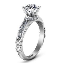 Pave Engagement Ring Flora 14K White Gold