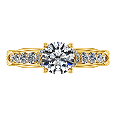 Pave Engagement Ring Flora 14K Yellow Gold