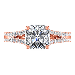 Pave Cushion Cut Engagement Ring Dahlia 14K Rose Gold