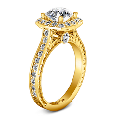 Halo Engagement Ring Heather 14K Yellow Gold