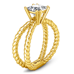 Solitaire Princess Cut Engagement Ring Infinity 14K Yellow Gold