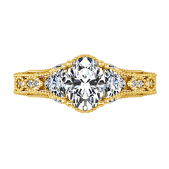Pave Engagement Ring Heritage 14K Yellow Gold
