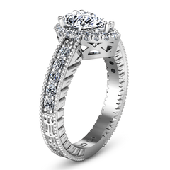 Halo  Engagement Ring Candence  14K White Gold