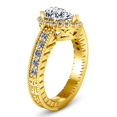 Halo  Engagement Ring Candence  14K Yellow Gold