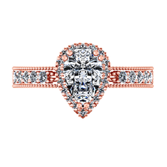 Halo  Engagement Ring Candence  14K Rose Gold