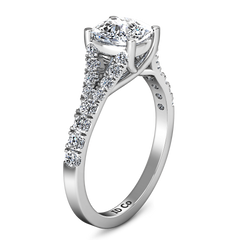 Pave Cushion Cut Engagement Ring Riverton 14K White Gold