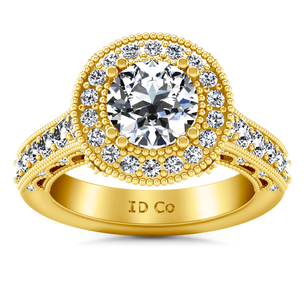 Halo Engagement Ring Angeline 14K Yellow Gold