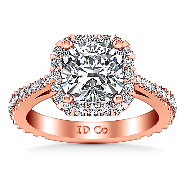 Halo Cushion Cut Engagement Ring Adalyn 14K Rose Gold