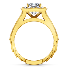 Halo Cushion Cut Engagement Ring Geneve 14K Yellow Gold