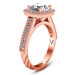 Halo Cushion Cut Engagement Ring Geneve 14K Rose Gold