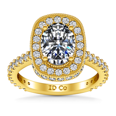 Halo Oval Engagement Ring Camille 14K Yellow Gold