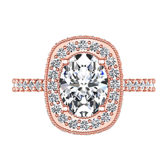 Halo Oval Engagement Ring Camille 14K Rose Gold