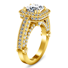 Halo Cushion Cut Engagement Ring Leilani 14K Yellow Gold