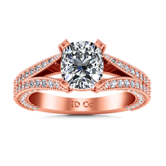 Pave Cushion Cut Engagement Ring Zahra 14K Rose Gold