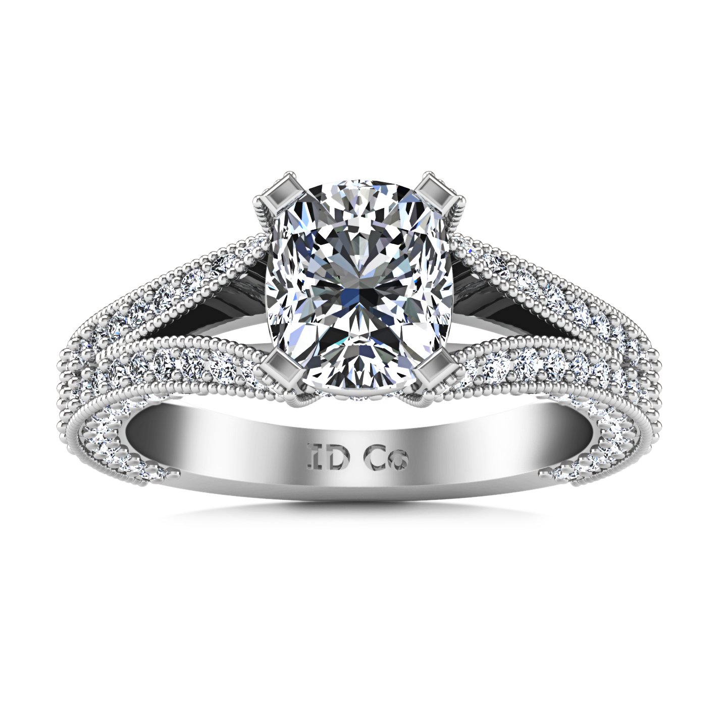 mo diamond white preset engagement cushion pid cusion moissanite gold rings ring cut and halo