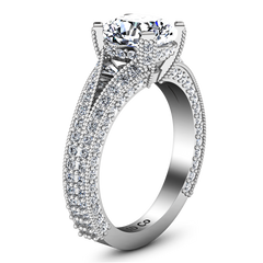 Pave Cushion Cut Engagement Ring Zahra 14K White Gold