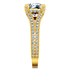 Pave Cushion Cut Engagement Ring Zahra 14K Yellow Gold