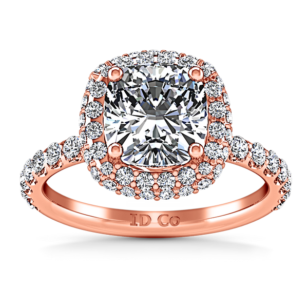 Halo Cushion Cut Engagement Ring Kristine 14K Rose Gold