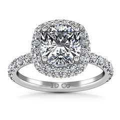 Halo Cushion Cut Engagement Ring Kristine 14K White Gold