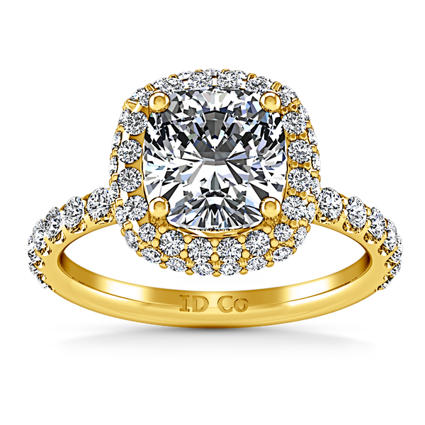 Halo Cushion Cut Engagement Ring Kristine 14K Yellow Gold