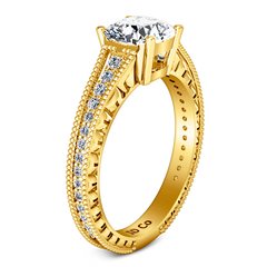 Pave Cushion Cut Engagement Ring Primrose 14K Yellow Gold
