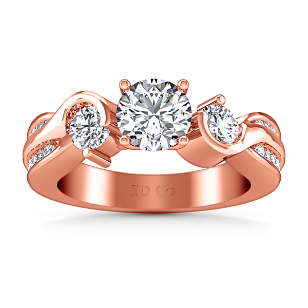 Three Stone Engagement Ring Cosette 14K Rose Gold