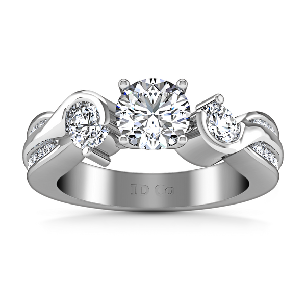 Three Stone Engagement Ring Cosette 14K White Gold