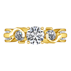 Three Stone Engagement Ring Cosette 14K Yellow Gold