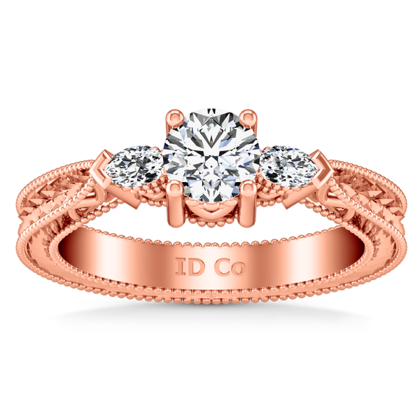 Three Stone Engagement Ring Haven 14K Rose Gold