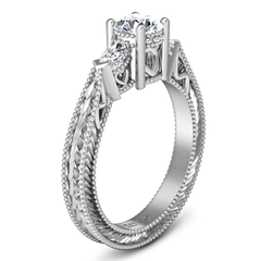 Three Stone Engagement Ring Haven 14K White Gold