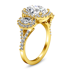 Halo Engagement Ring Summer 14K Yellow Gold