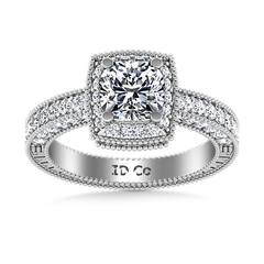 Halo  Engagement Ring Danica 14K White Gold