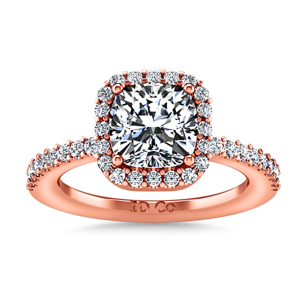 Halo Cushion Cut Engagement Ring Claire 14K Rose Gold