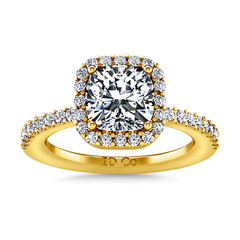 Halo Cushion Cut Engagement Ring Claire 14K Yellow Gold