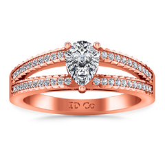 Pave Engagement Ring Season Pear 14K Rose Gold
