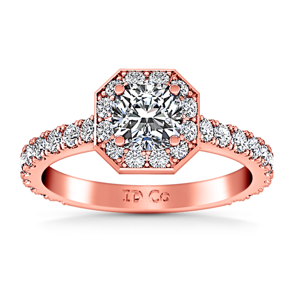 Halo Engagement Ring Irina 14K Rose Gold