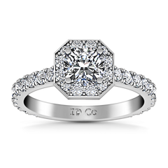 Halo Engagement Ring Irina 14K White Gold