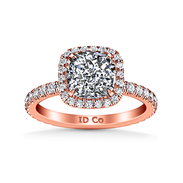 Halo Cushion Cut Engagement Ring Salice 14K Rose Gold