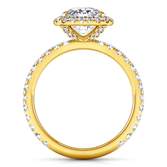 Halo Cushion Cut Engagement Ring Salice 14K Yellow Gold
