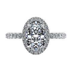 Halo  Engagement Ring Elsa 14K White Gold