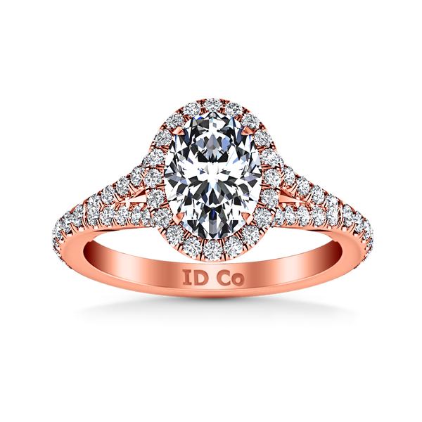 Halo Oval Engagement Ring Melody 14K Rose Gold