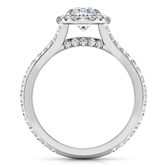 Halo Oval Engagement Ring Melody 14K White Gold