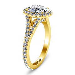 Halo Oval Engagement Ring Melody 14K Yellow Gold