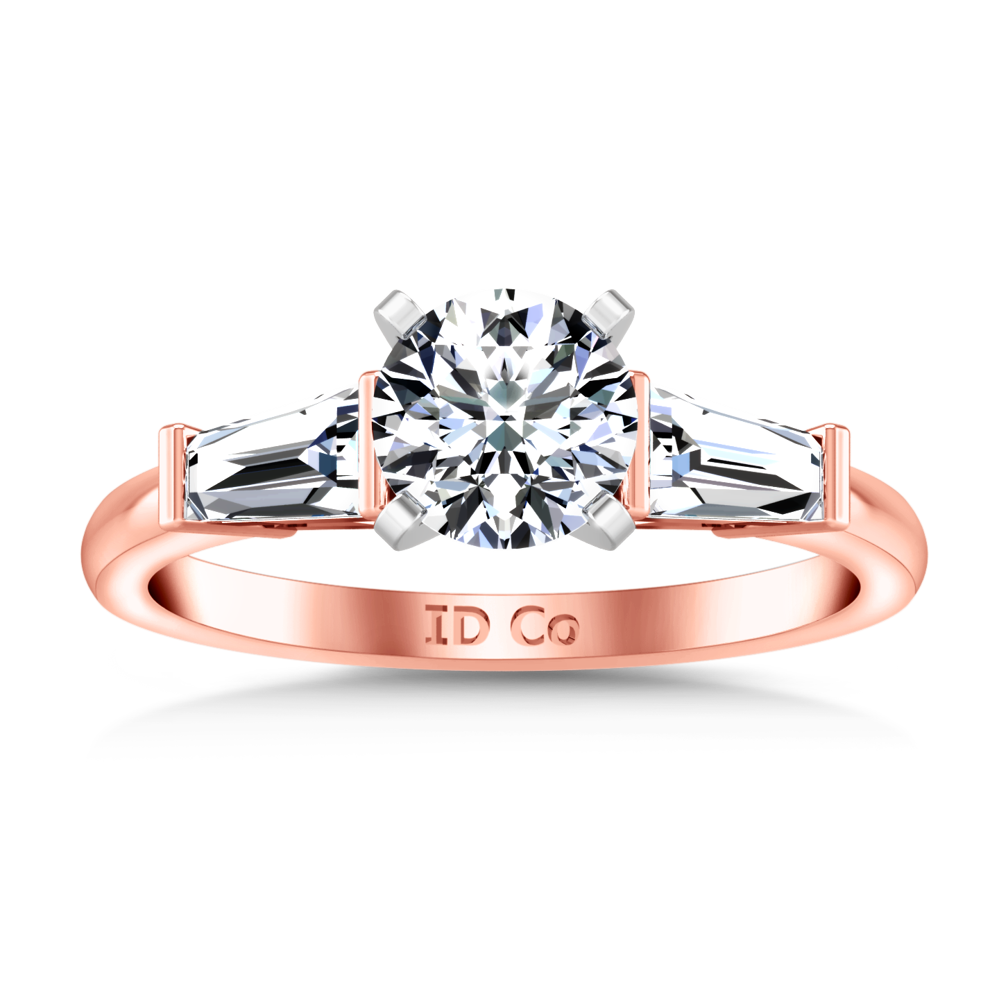 Three Stone Engagement Ring Prong Channel Set Tappered Baguette